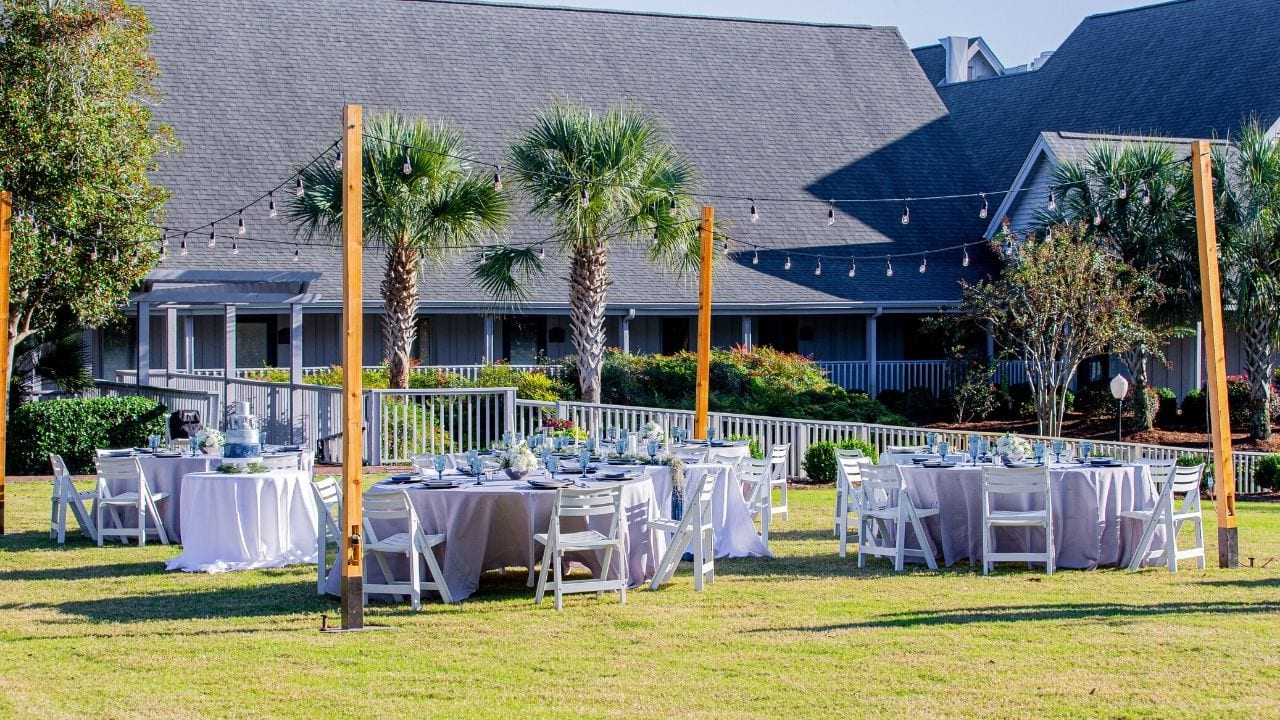 Reception set-up for wedding on a lawn