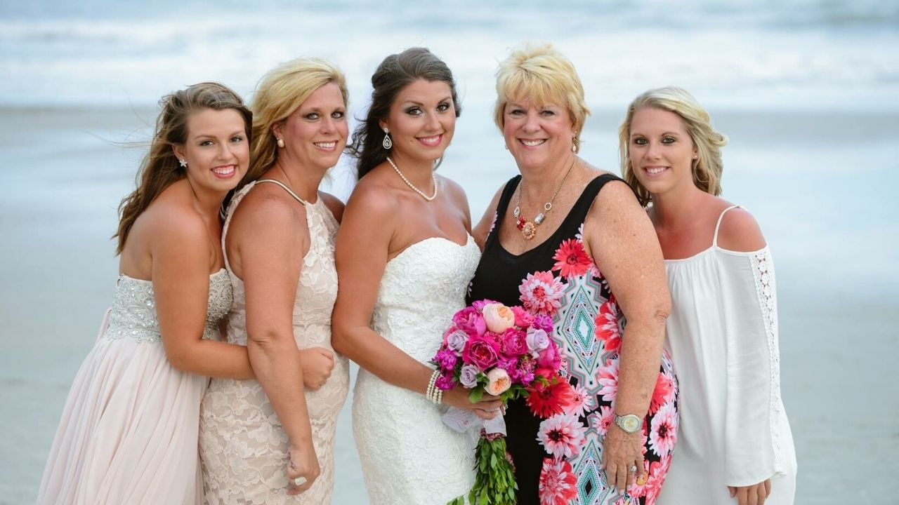 Bride and her family on beach