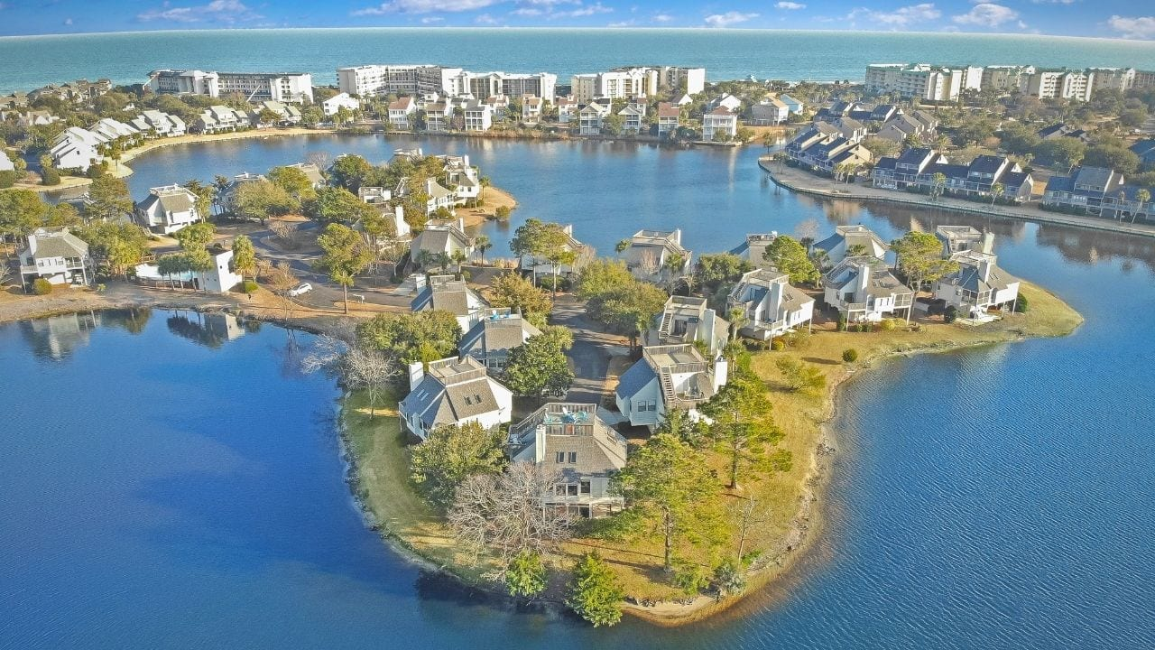 Drone of lake House and Beach Houses