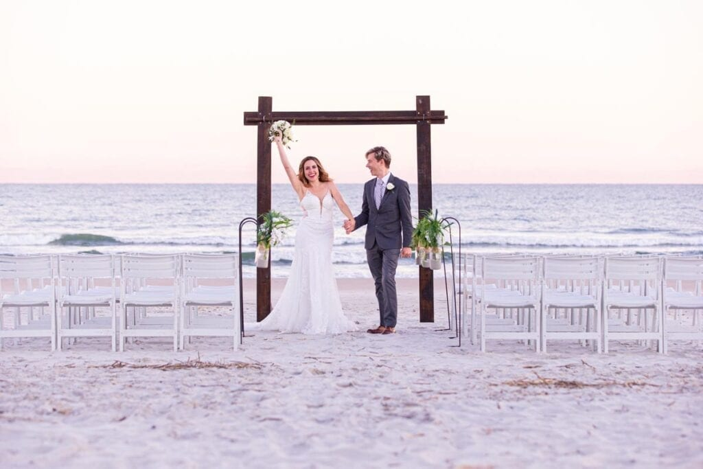Bride and Groom Married on the Beach