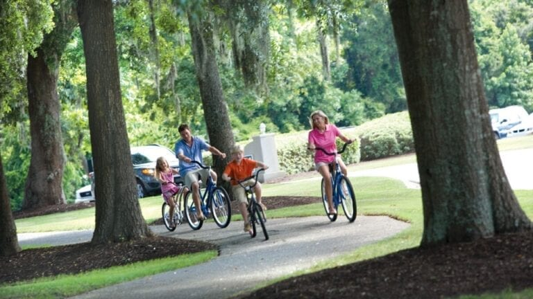 Family riding bikes at Litchfield