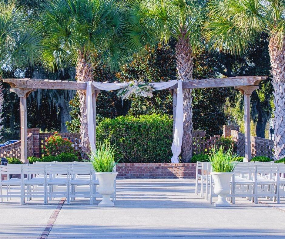 Wedding Ceremony Set-Up in Courtyard