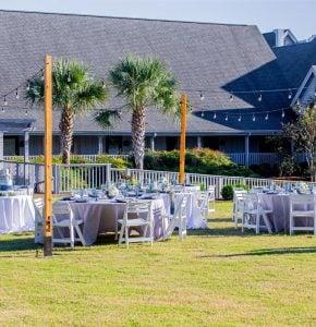 Wedding table setup on the Magnolia Lawn